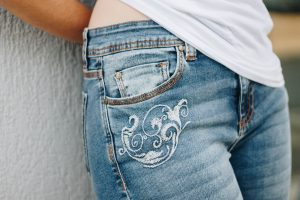 new pair of jeans finishing process uses chemicals