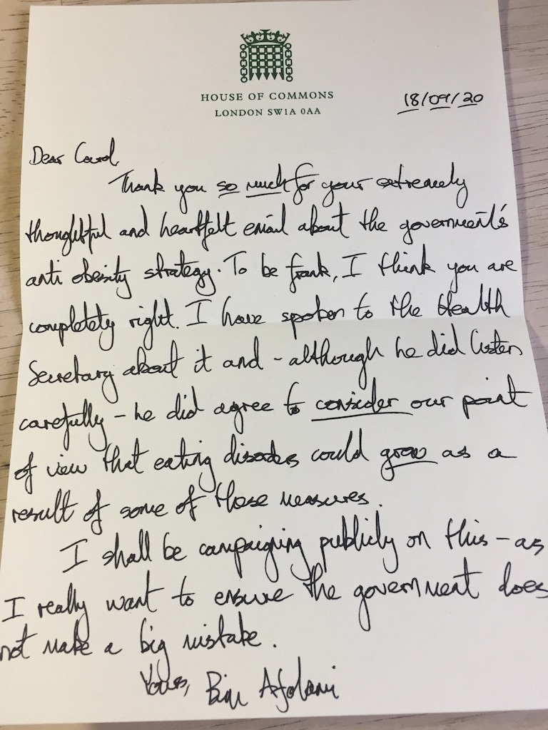 Handwritten Letter From My MP